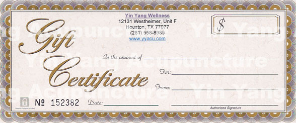 Yin Yang Acupuncture Gift Certificate Sample